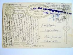 Tábori postai levelezőlap /1918/ 308. honvéd gyalogezred I.zászlóalj Pókai János segédtiszt