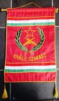 Retro szocreál zászló, anyaga hímzett selyem, 56x348 cm
