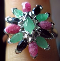 925 ezüst gyűrű rubin, smaragd, zafír 16,9/53 mm