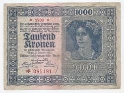 1000 Korona 1922 Osztrák - Magyar Bank  Vízjel nélküli változat