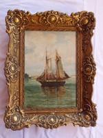 Pikéthy Tibor (1884-1972) : Hajós festménye (olaj-farost)