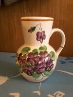 Fischer Emil ibolyás régi fajansz váza - ibolya virág mintával ritka!
