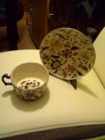 Antik zsyolnay kávés csésze tanyérral
