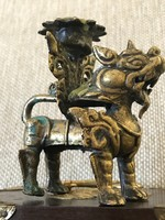 Flo kutya antik réz gyertyatartó