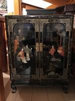 Tradicionális kínai, jade kő berakásos, jelenetes fekete lakk komód, keleti, japán, ázsiai