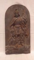 Nagyon nagyon régi öntöttvas kép Szent Flórián