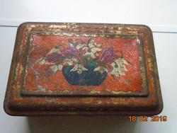 Szent István Malátakávé ,hóvirágos antik pléh doboz