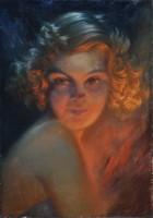 Ismeretlen művész: Art deco női portré, pasztell, 1930 k.