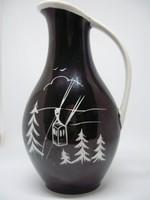 Unterweissbach fekete-fehér,sífelvonós,fenyőfás,art deco kancsóváza,váza