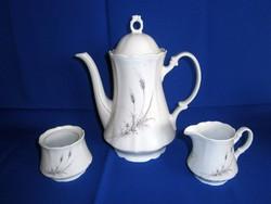 Bavaria Winterling porcelán teás készletből elegáns kancsó, tejkiöntő és cukortartó