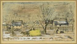 Magyar művész 1930 körül : Falusi utca