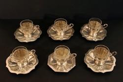 826g 800-as finomság 6 személyes ezüst kávéskészlet üvegbetéttel kávéscsésze alj tányér kistányér