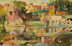 Juhász Erika (1926 - ) vízparti tájkép c. festménye EREDETI GARANCIÁVAL !
