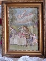 Antik hímzett selyemkép,angyalkákkal