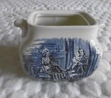 Angol jelenetes kék cukortartó