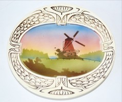 Falitányér Art deco közepén festett szélmalmokkal nem restaurált