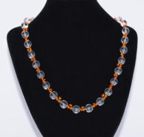Hegyikristály és borostyán féldrágakő nyaklánc