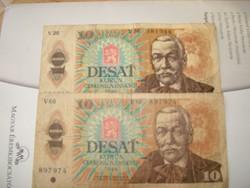2x10 korona Csehszlovákia 1986