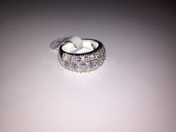 Rózsa-zafír köves  jelzett 925-ös gyűrű