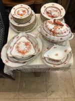 Herendi 8 személyes orange Indiai kosár mintás gyönyörű porcelán étkészlet