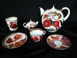 Lomonosov,kézzel festett,22K aranyozott kanna,bögre,csésze