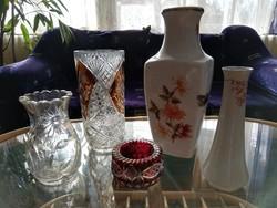 Ólomkristály és porcelán váza csomag 5 db hibátlan portékák