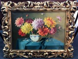 Murin Vilmos (1891-1952) - Virágcsendélet festmény, olaj vászon, aranyozott florentin keretben