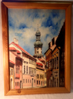 Jelzett olaj-farost utcakép festmény toronnyal 78x58 cm