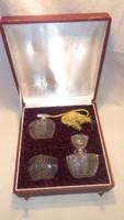 Cseh Sklo Bohemia kristály parfümös készlet dobozában