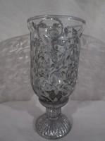 Gyertyatartó - exkluzív - festett üveg - kerámia talp 15 x 7 cm - hibátlan