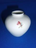 Nagyon régi 6 cm-es Hollóházi porcelán pocakos ibolya váza virág mintával