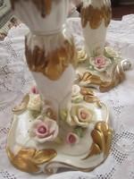 Gyönyörű rózsás gyertyatartók párban