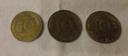 Német pénz - érme, 10 Pfennig (1990, 1994)