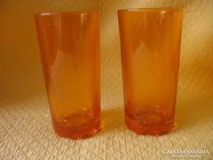 2 db retro borostyán színű Bormioli pohár