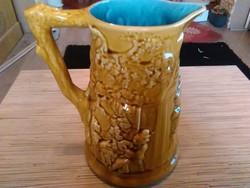 Antik Francia Sarreguemines porcelán boros korsó