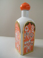 Csavaros tetejű orosz (szovjet) porcelán flaska, üveg