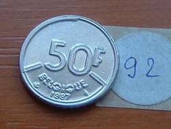 BELGIUM BELGIQUE 50 FRANK 1987 92.