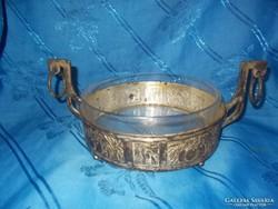 antik üvegbetétes fém kínáló asztalközép