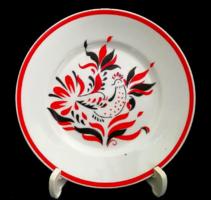 Régi Hollóházi porcelán kakasos fali dísz tányér