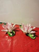 Meseszép, jelzett, nagyméretű, porcelán lótuszvirágok