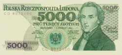 Lengyelország 5000 Lengyel Zloty 1982 UNC