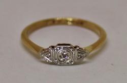 Csodás antik art deco  brill arany palládium gyűrű Akció!!!