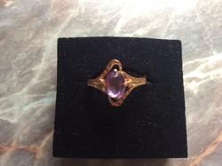 Rosegold ametiszt köves aranygyűrű