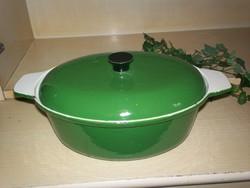Zöld öntött vas edény, ovál öntöttvas 32 cm