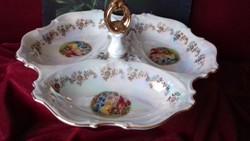 Jelenetes 3 részes porcelán kínáló tál