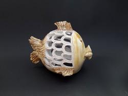 Nagyméretű kerámia halacska gyertyatartó - polcdísz - iparművészeti termék