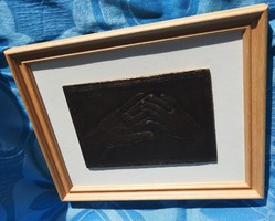 PATÓ RÓZA : KÉZFOGÓ - bronz falikép / relief - nászajándéknak is!