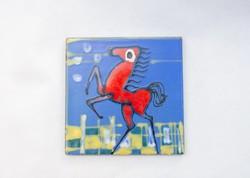 A vörös ló - formalista csempekép - retro iparművész kerámia