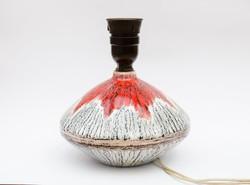 Kerámia lámpatalp piros és szürke csíkos mintával - retro zsűrizett iparművészeti termék