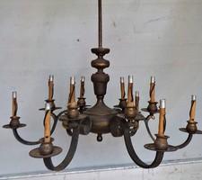 Antik 6 karos 12 izzós bronz csillár